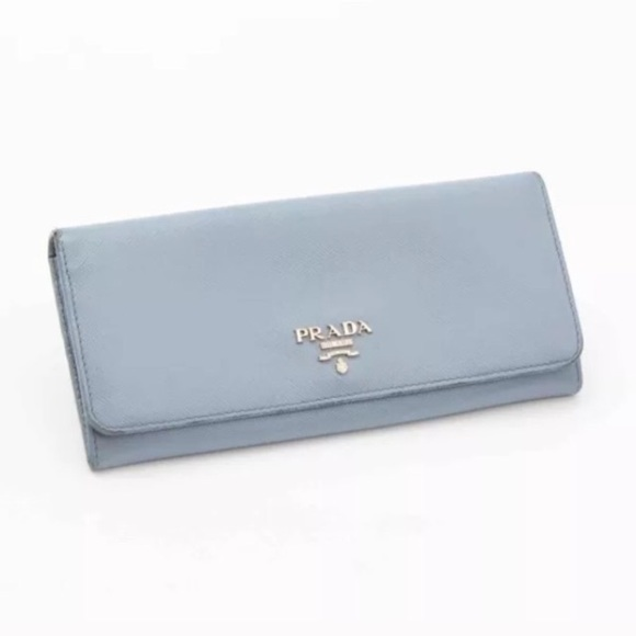 fa43bb31603e Prada Bags | Logo Blue Saffiano Long Fold Over Wallet | Poshmark